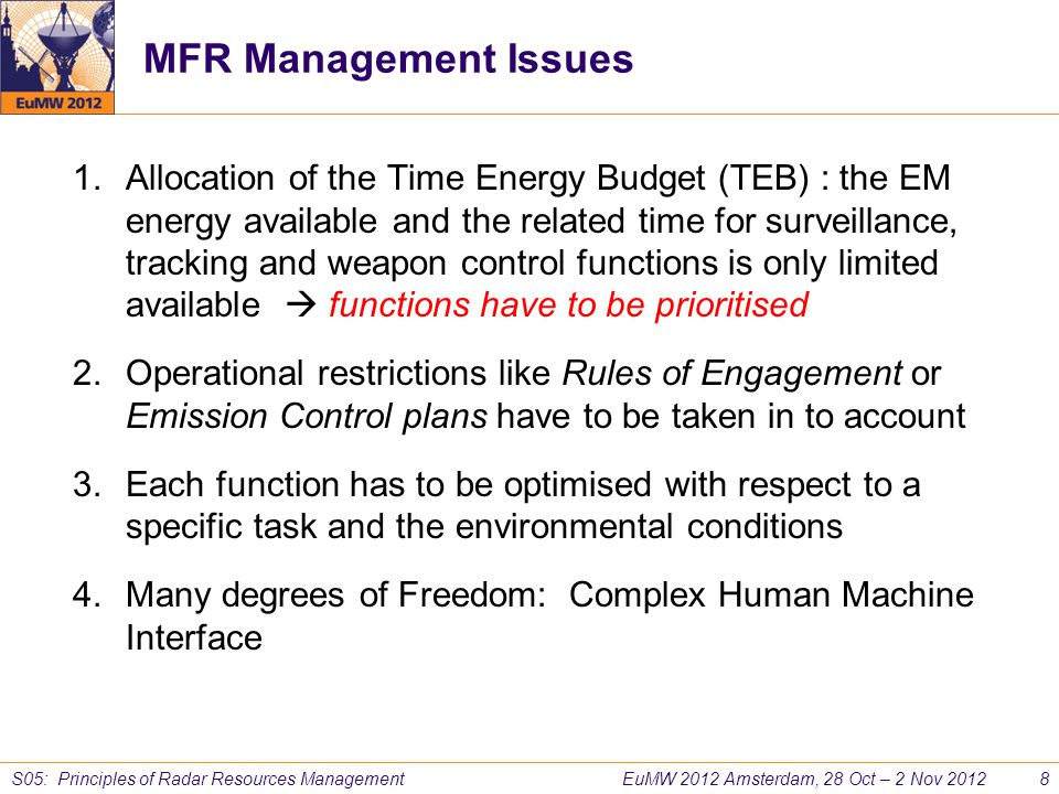 MFR Management Issues
