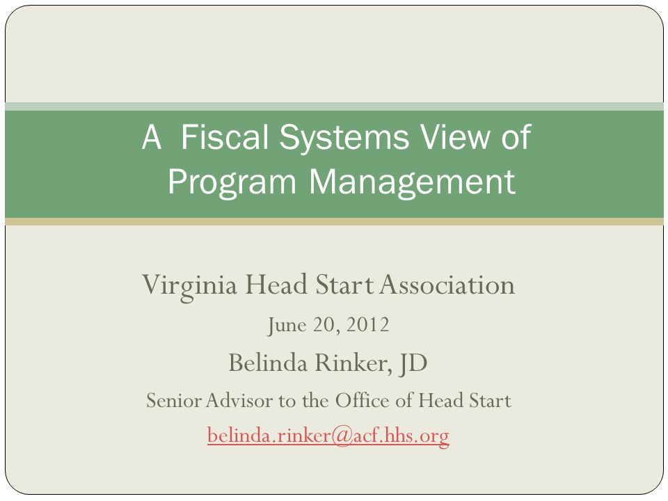 A Fiscal Systems View of Program Management