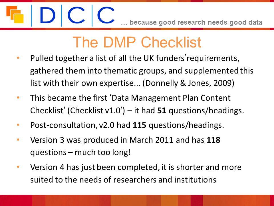 The DMP Checklist