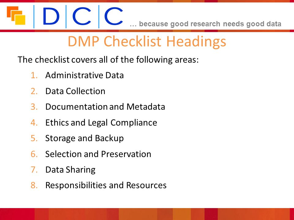 DMP Checklist Headings
