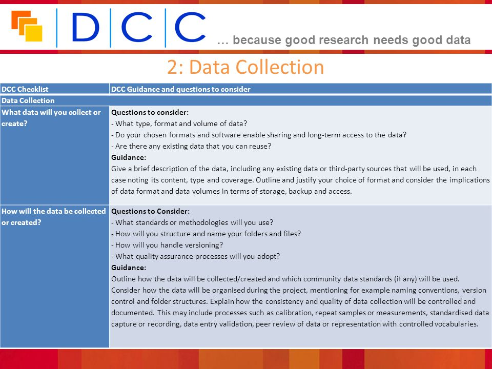 2: Data Collection DCC Checklist