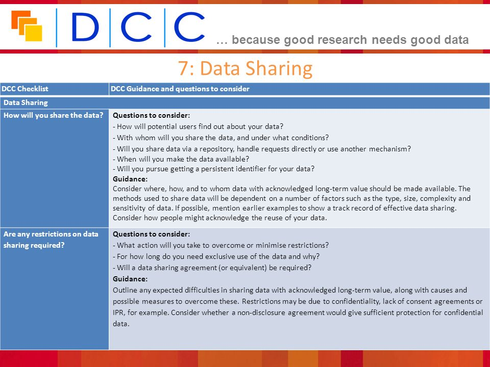 7: Data Sharing DCC Checklist DCC Guidance and questions to consider