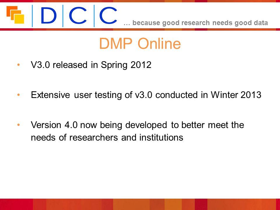 DMP Online V3.0 released in Spring 2012