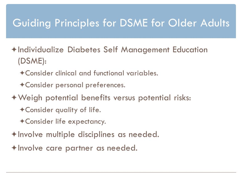 Guiding Principles for DSME for Older Adults