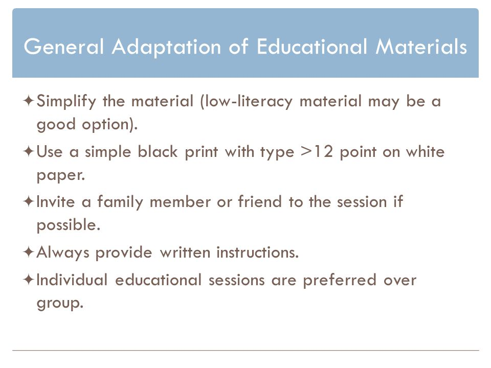 General Adaptation of Educational Materials