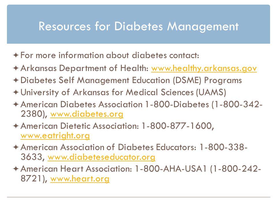 Resources for Diabetes Management