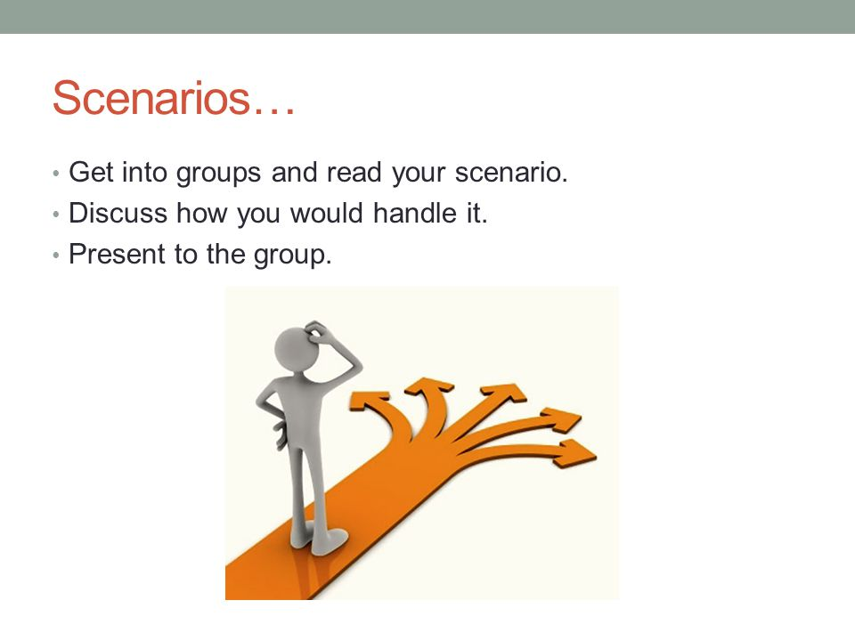 Scenarios… Get into groups and read your scenario.