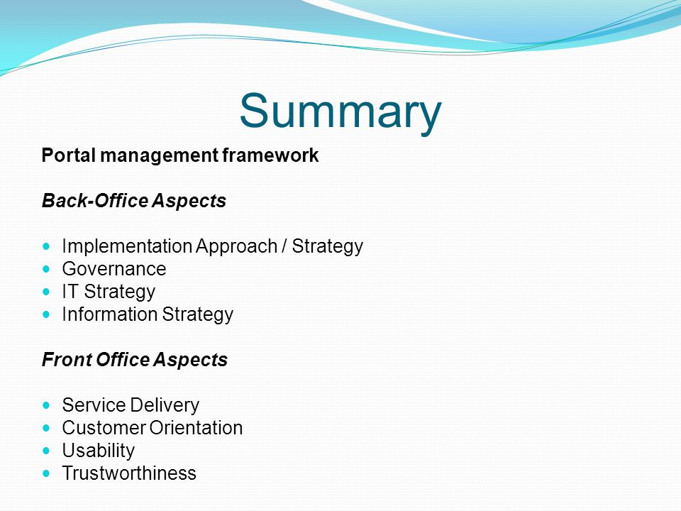 Summary Portal management framework Back-Office Aspects