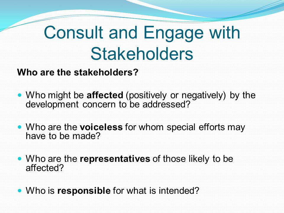 Consult and Engage with Stakeholders