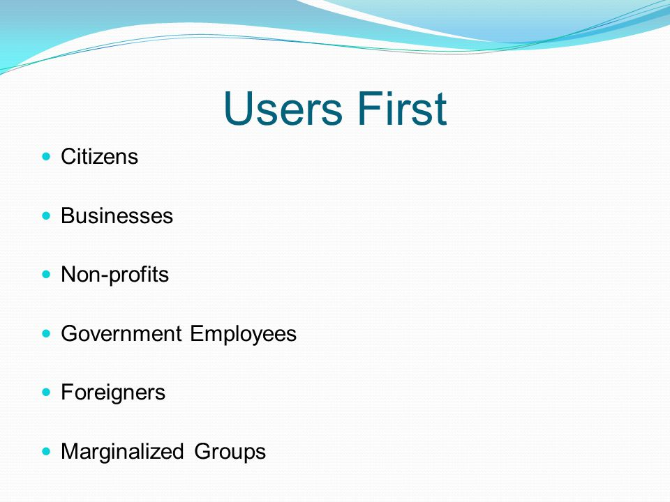 Users First Citizens Businesses Non-profits Government Employees