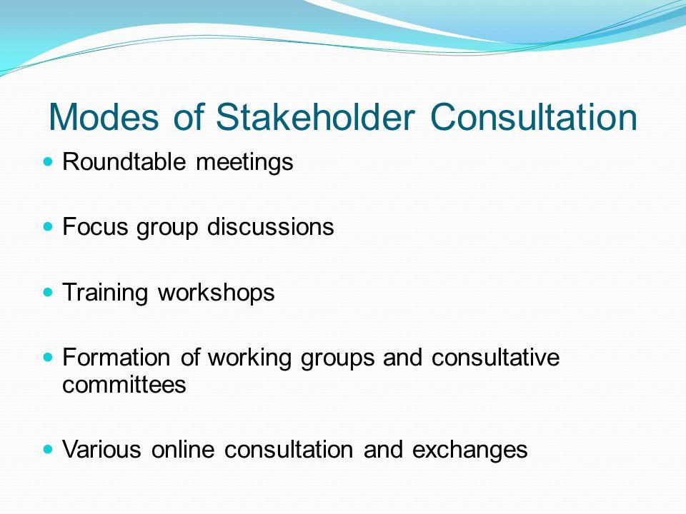 Modes of Stakeholder Consultation