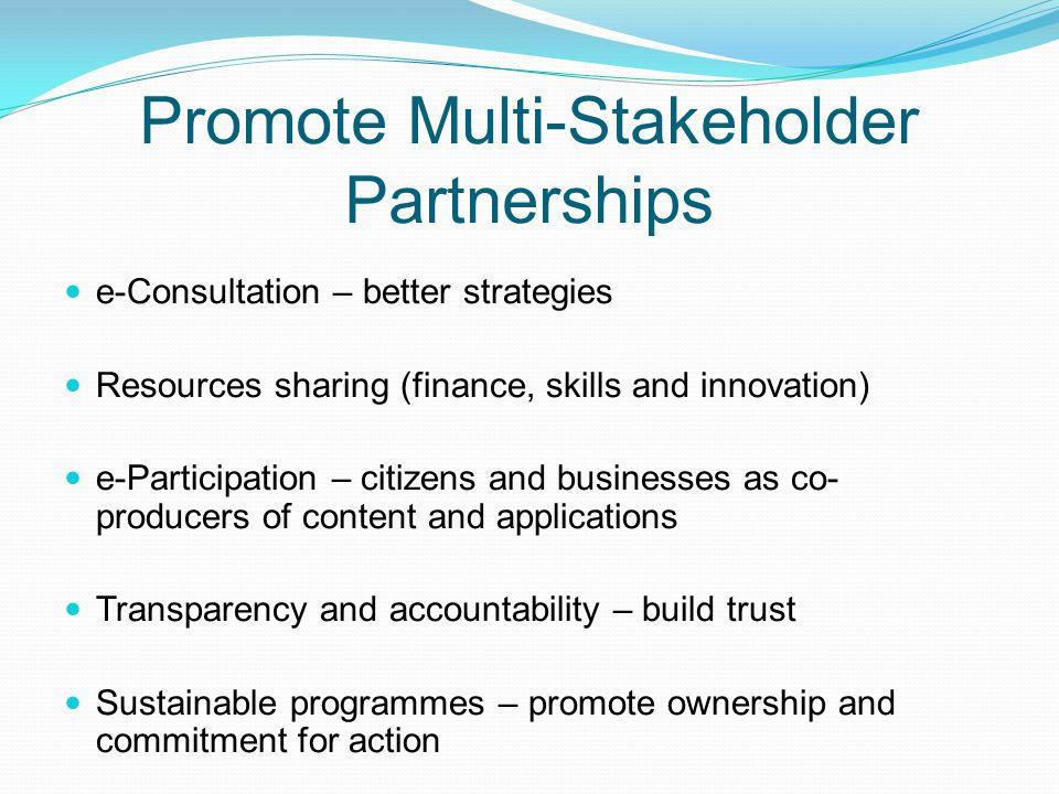 Promote Multi-Stakeholder Partnerships