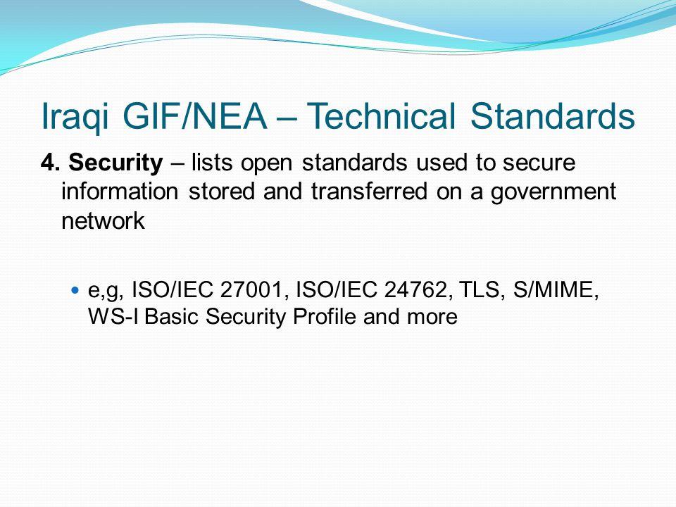 Iraqi GIF/NEA – Technical Standards