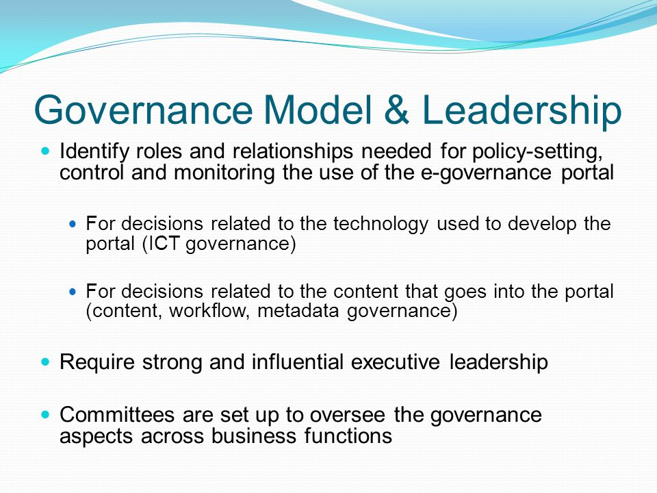 Governance Model & Leadership