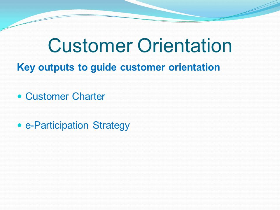 Customer Orientation Key outputs to guide customer orientation
