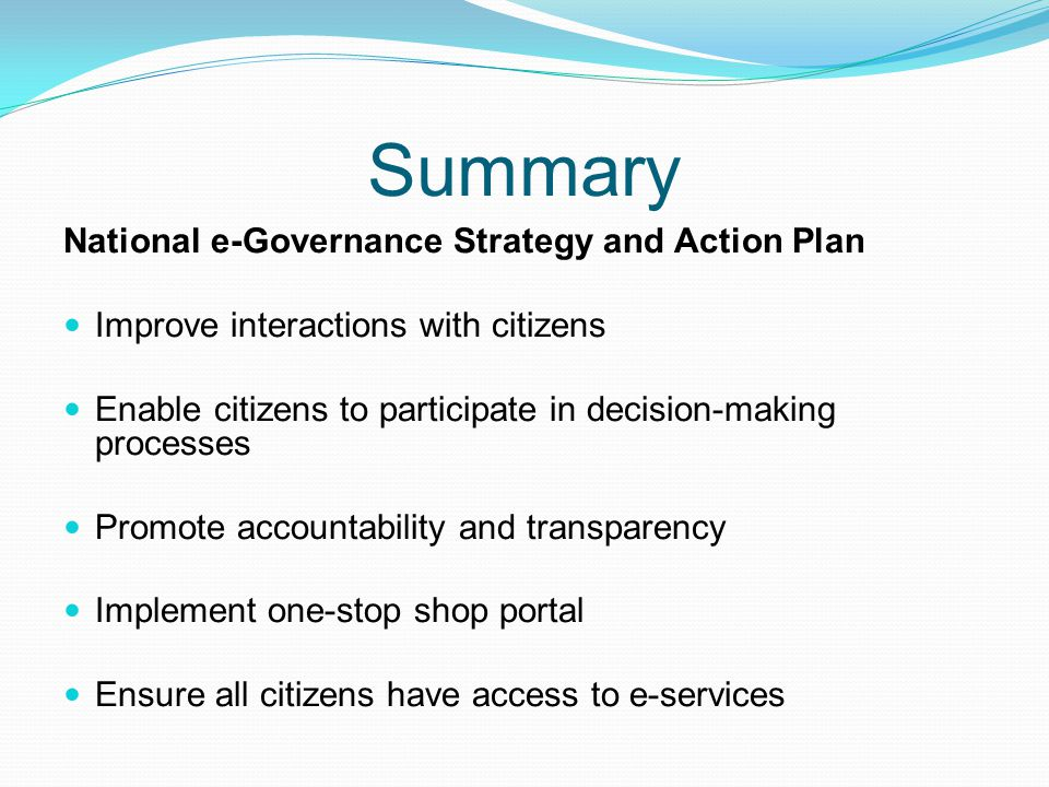 Summary National e-Governance Strategy and Action Plan