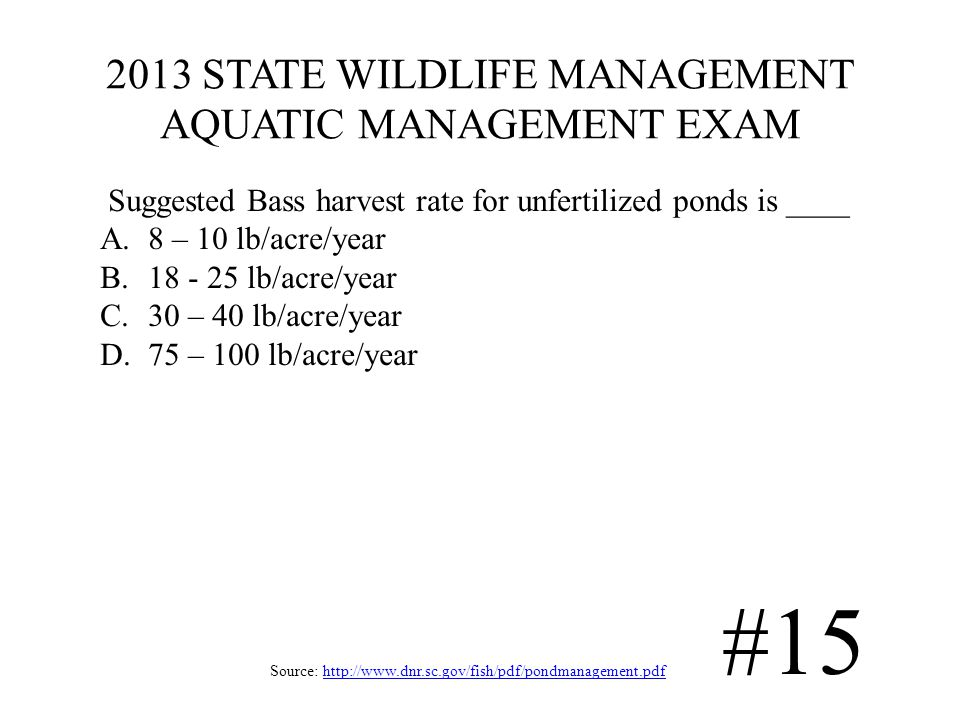 2013 STATE WILDLIFE MANAGEMENT AQUATIC MANAGEMENT EXAM