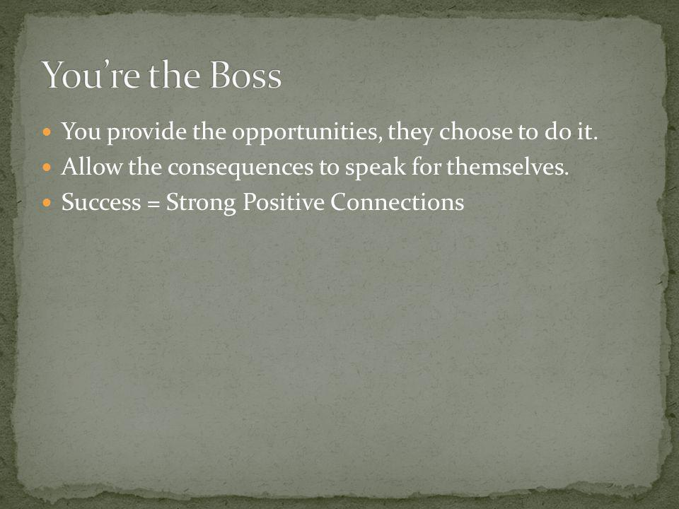 You're the Boss You provide the opportunities, they choose to do it.