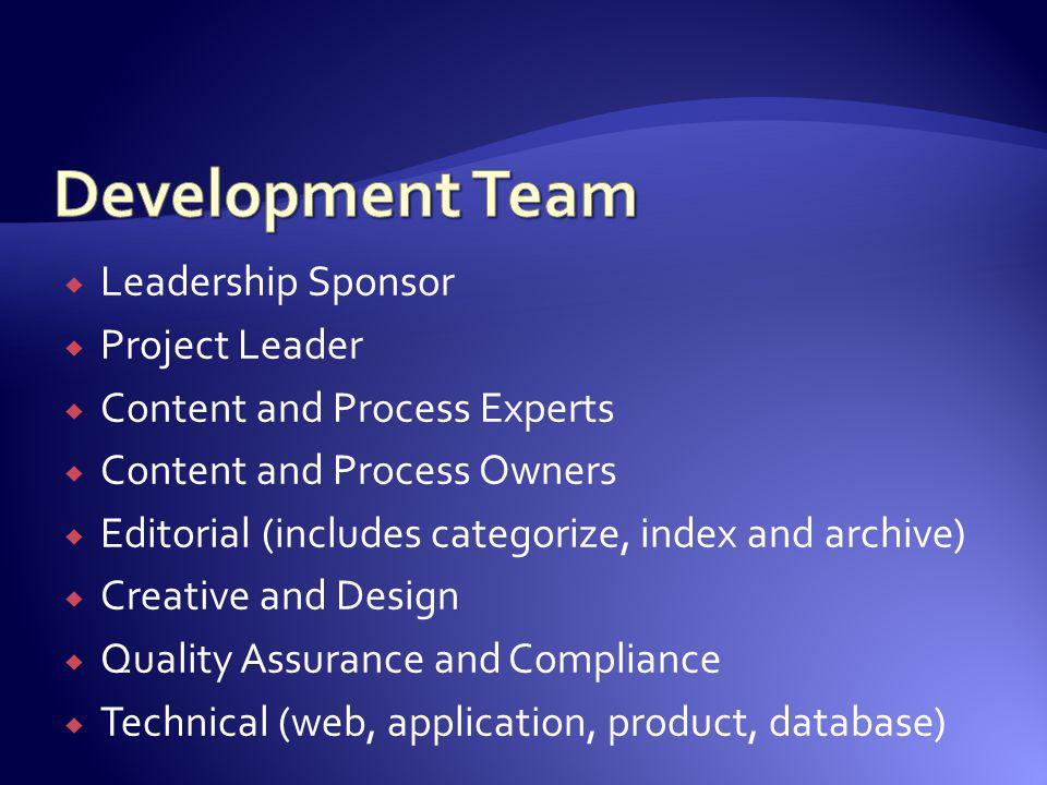 Development Team Leadership Sponsor Project Leader