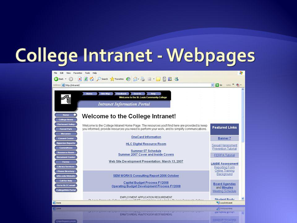 College Intranet - Webpages
