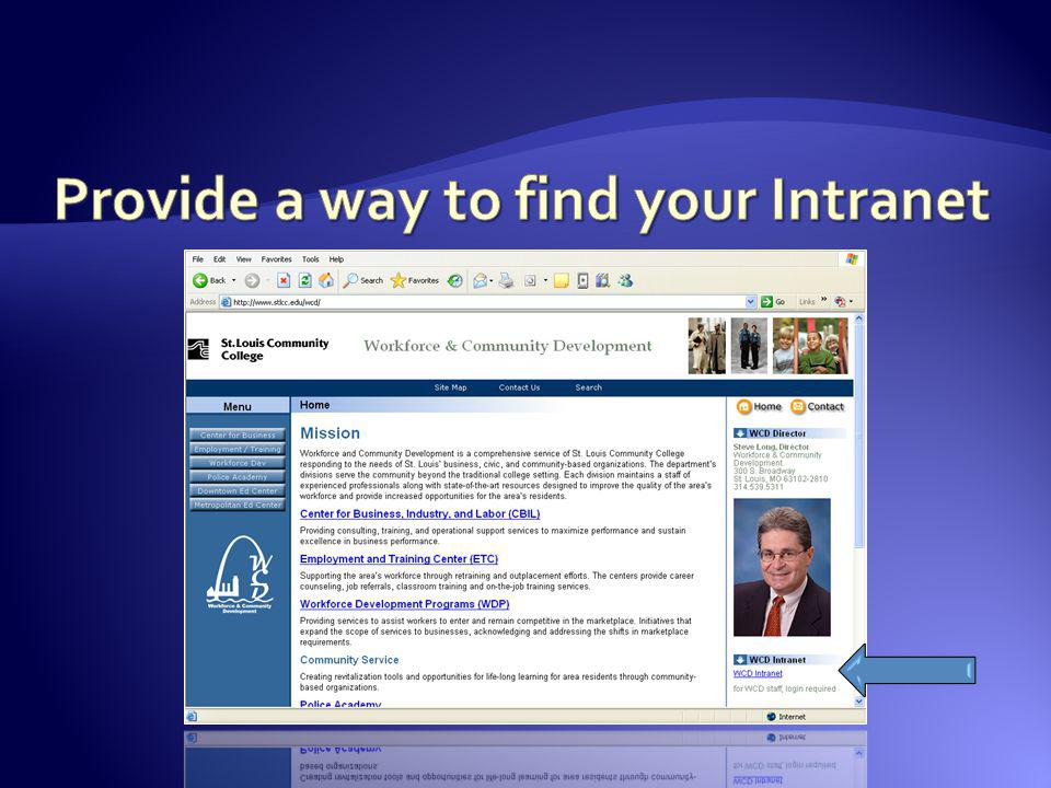 Provide a way to find your Intranet