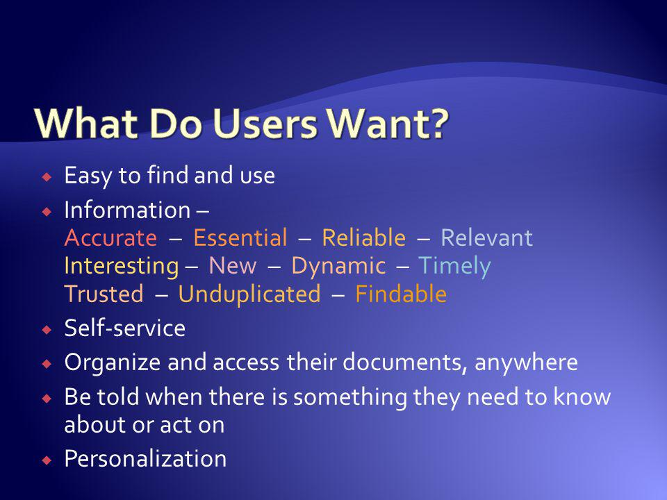 What Do Users Want Easy to find and use
