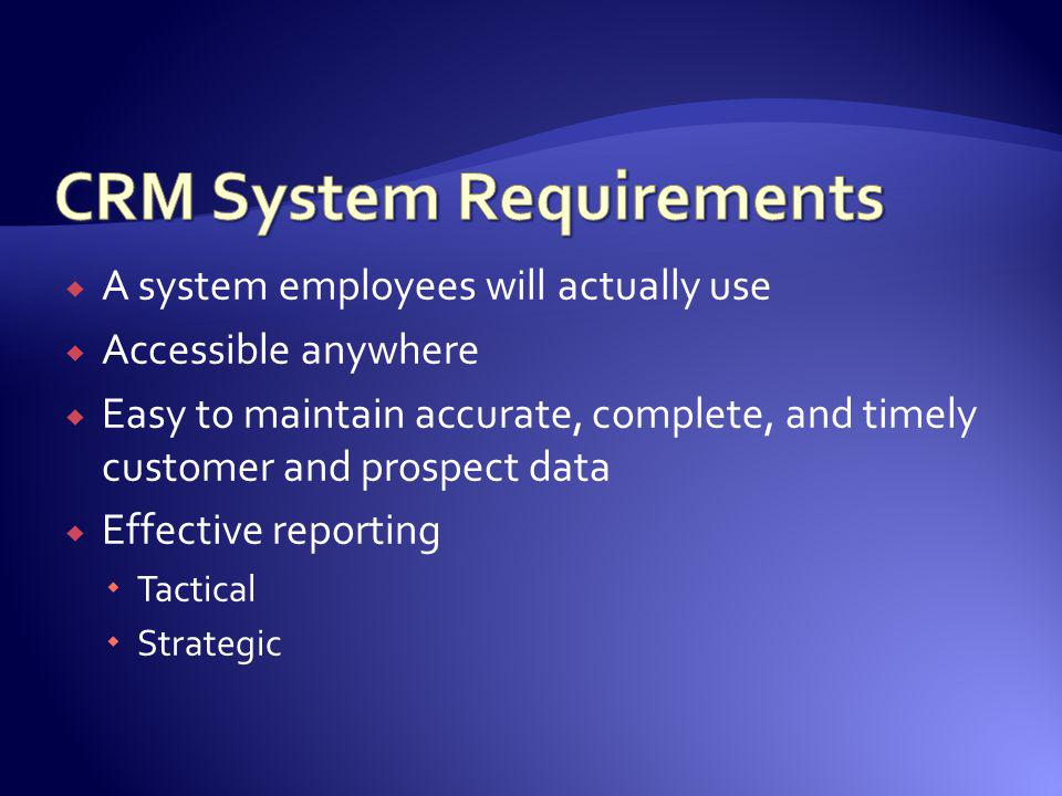 CRM System Requirements