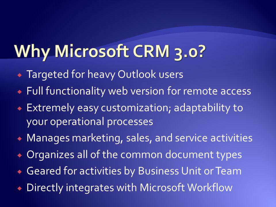 Why Microsoft CRM 3.0 Targeted for heavy Outlook users