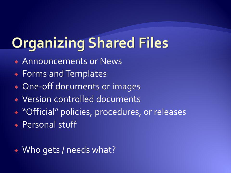 Organizing Shared Files