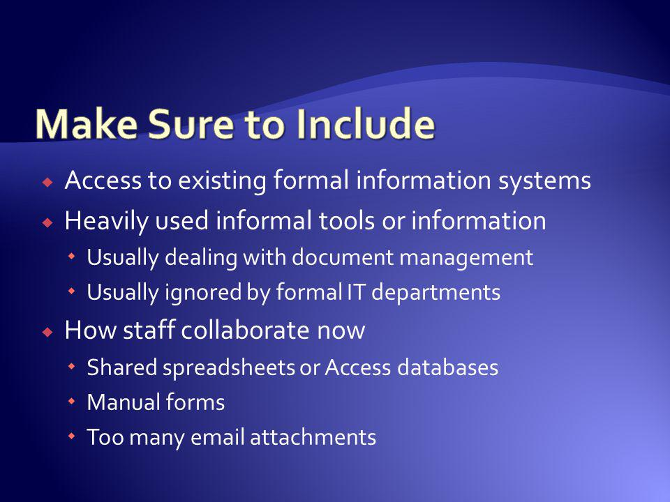 Make Sure to Include Access to existing formal information systems