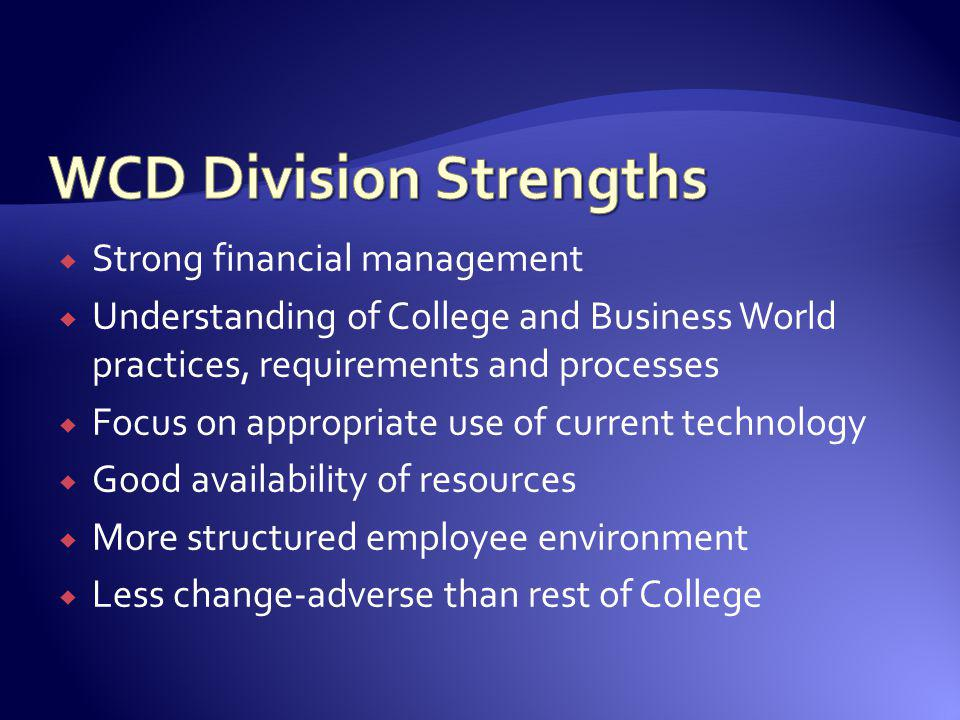 WCD Division Strengths
