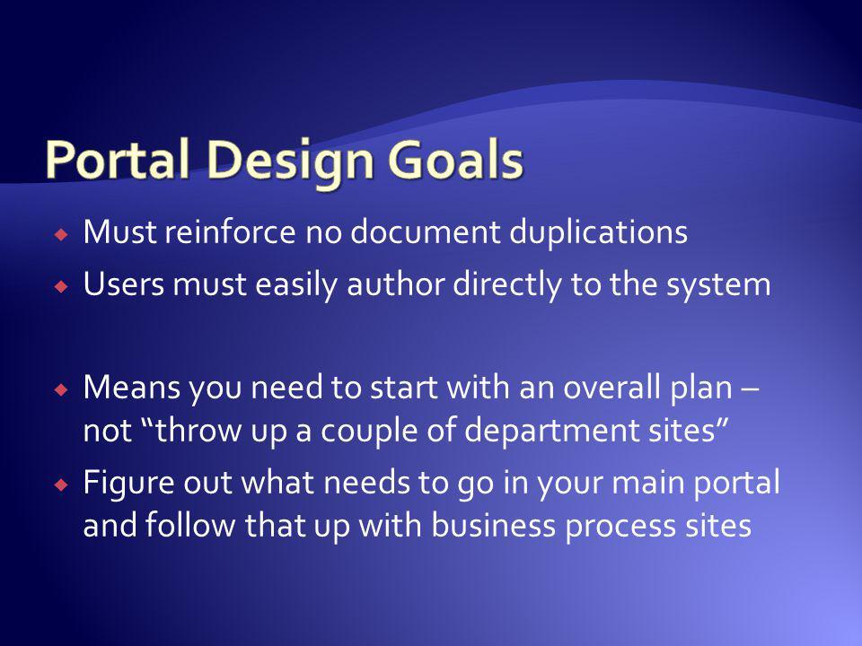 Portal Design Goals Must reinforce no document duplications