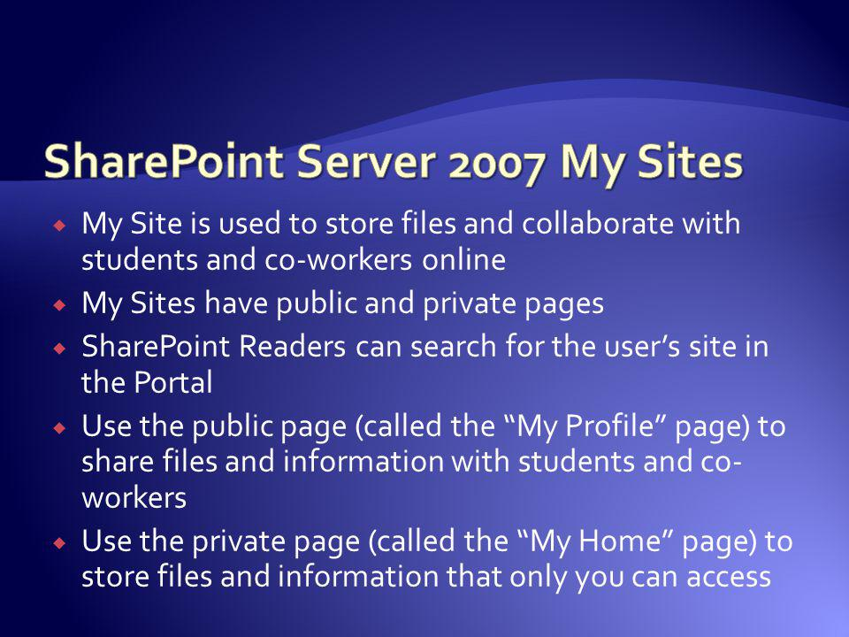 SharePoint Server 2007 My Sites