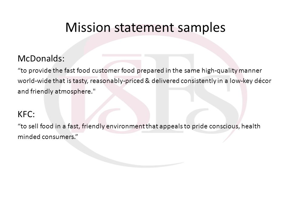 Mission statement samples