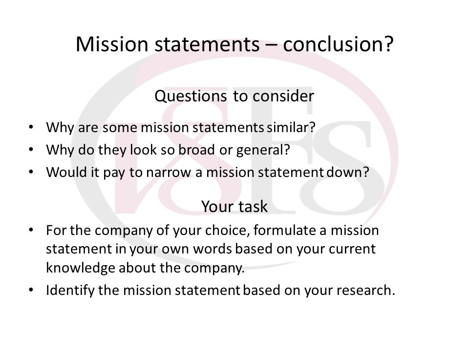 Mission statements – conclusion