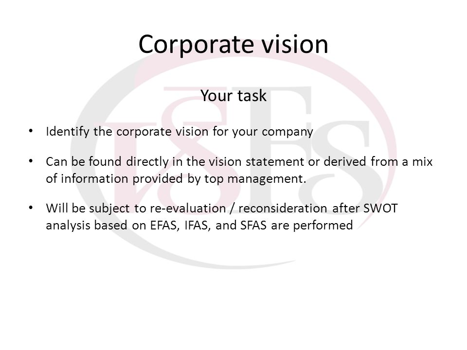 Corporate vision Your task