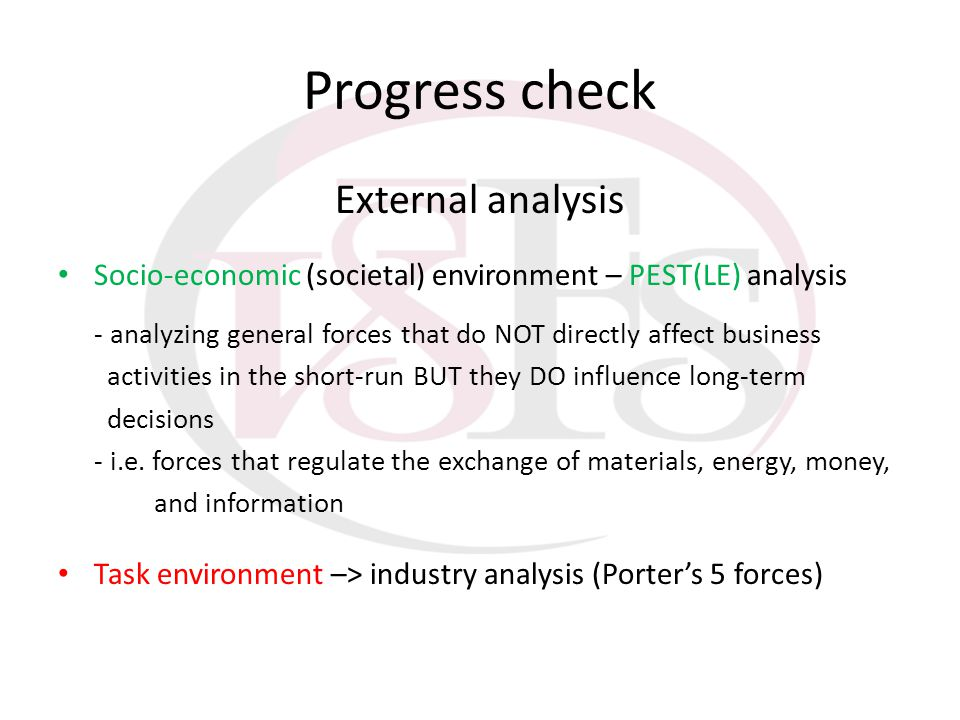 Progress check External analysis