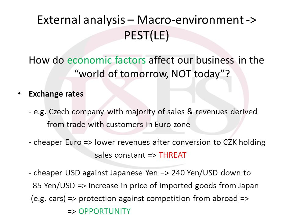 External analysis – Macro-environment -> PEST(LE)