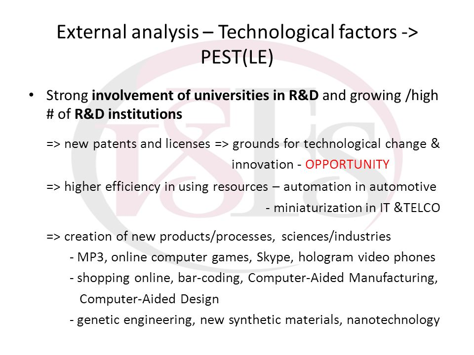 External analysis – Technological factors -> PEST(LE)