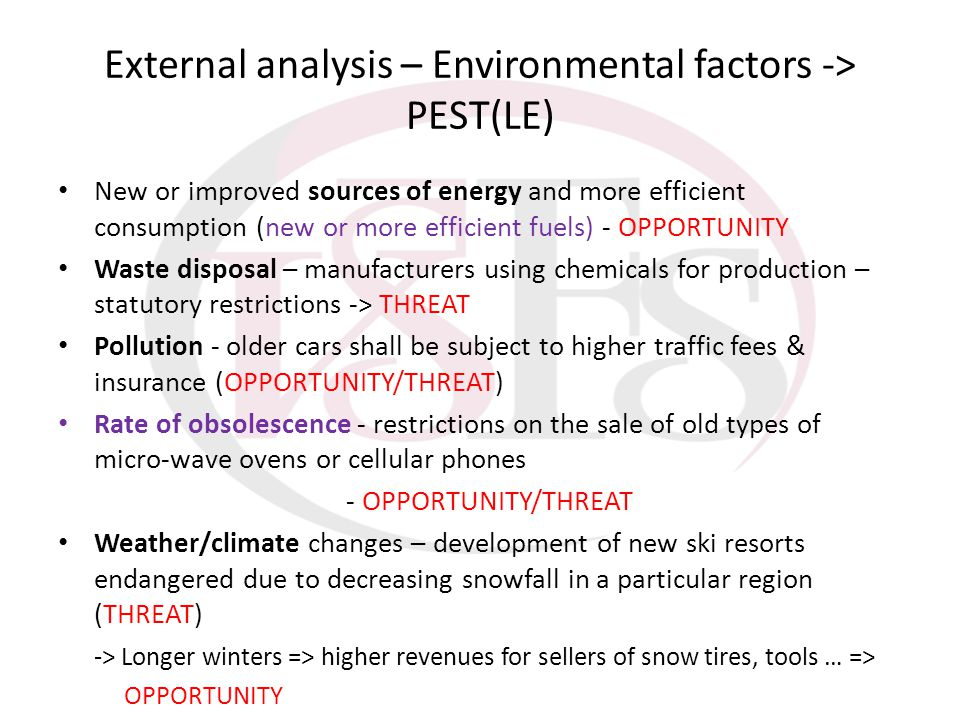 External analysis – Environmental factors -> PEST(LE)