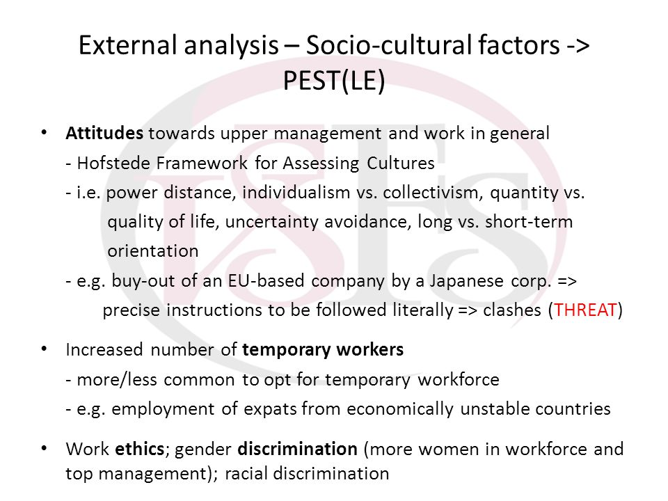 External analysis – Socio-cultural factors -> PEST(LE)