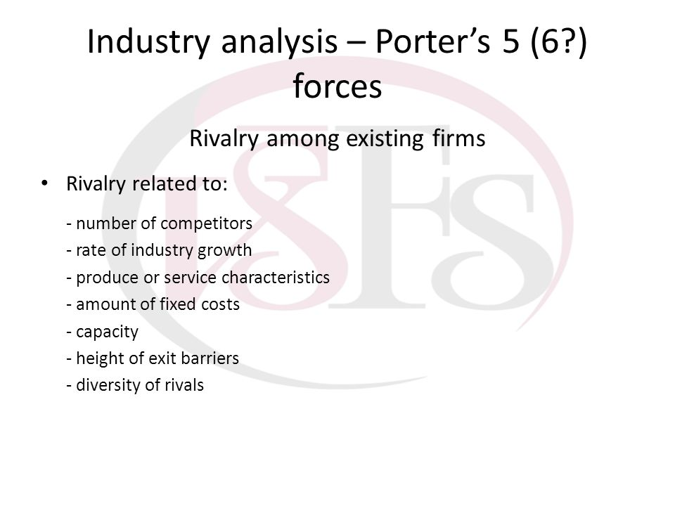 Industry analysis – Porter's 5 (6 ) forces