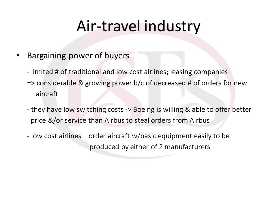 Air-travel industry Bargaining power of buyers