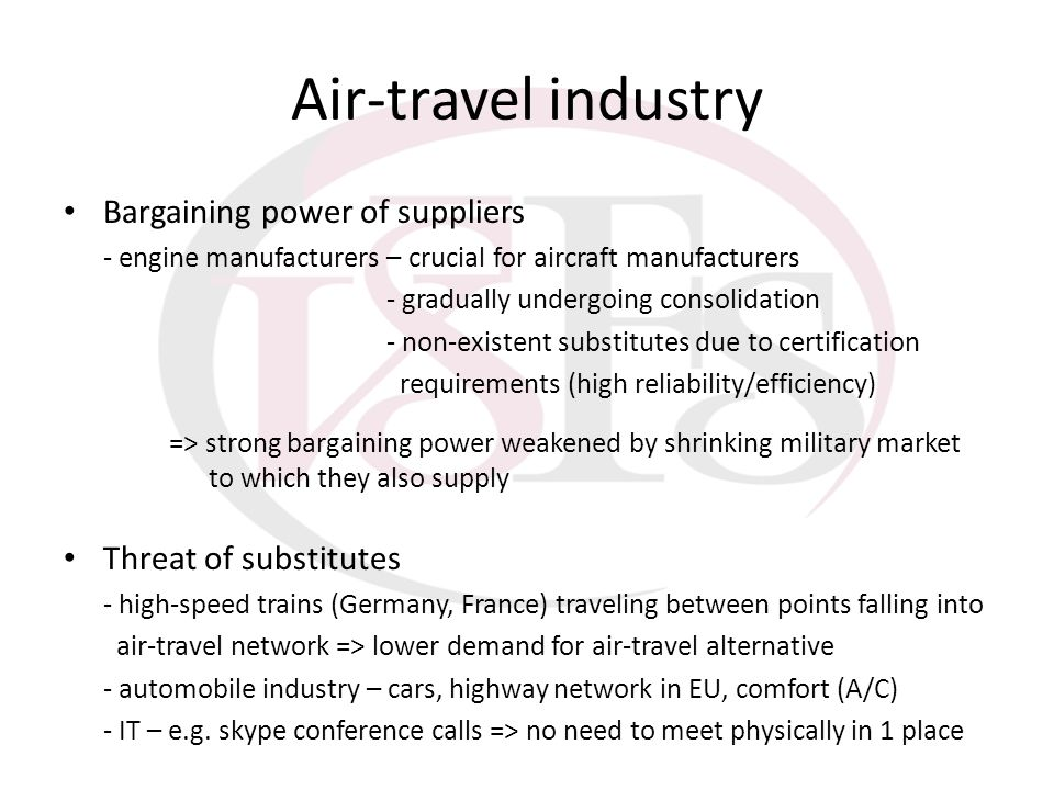 Air-travel industry Bargaining power of suppliers