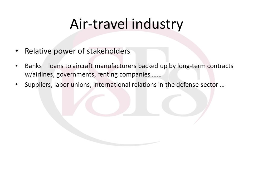 Air-travel industry Relative power of stakeholders