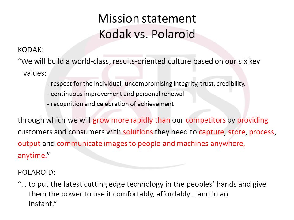 Mission statement Kodak vs. Polaroid