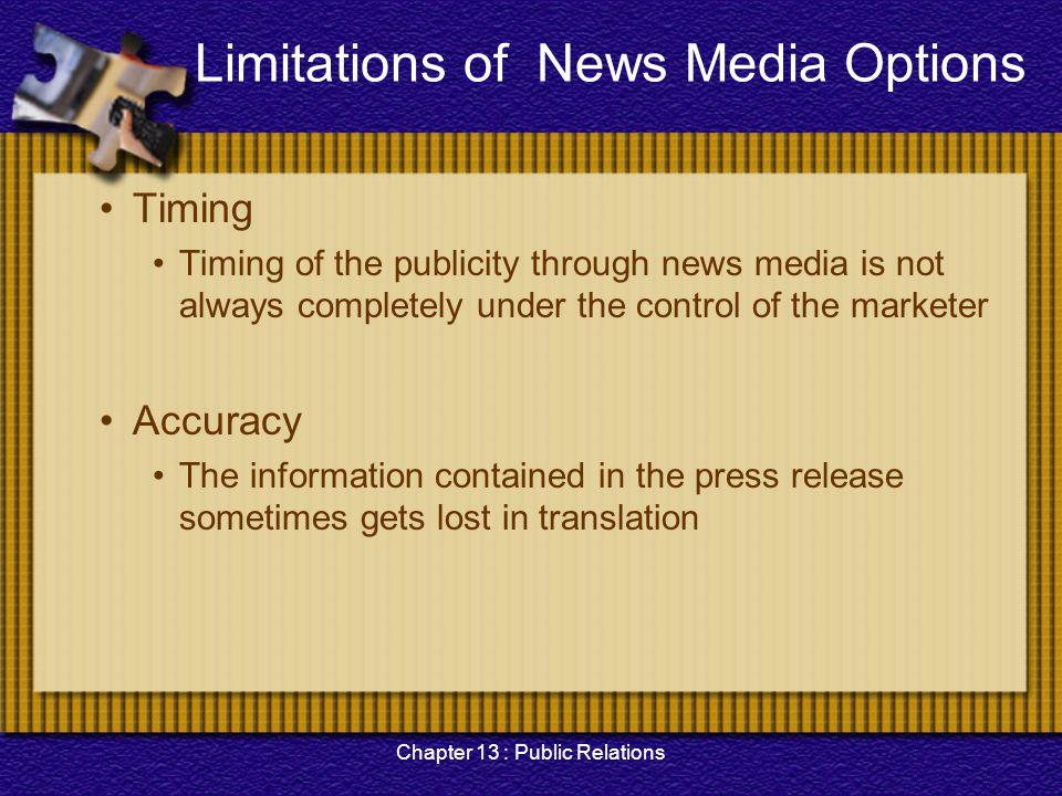 Limitations of News Media Options