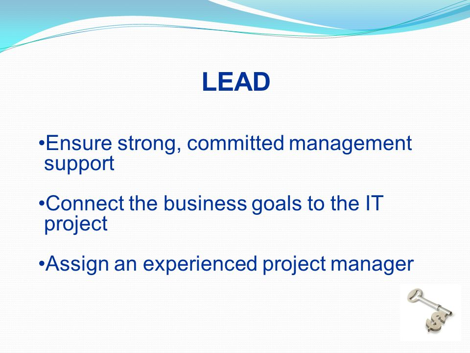 LEAD Ensure strong, committed management support