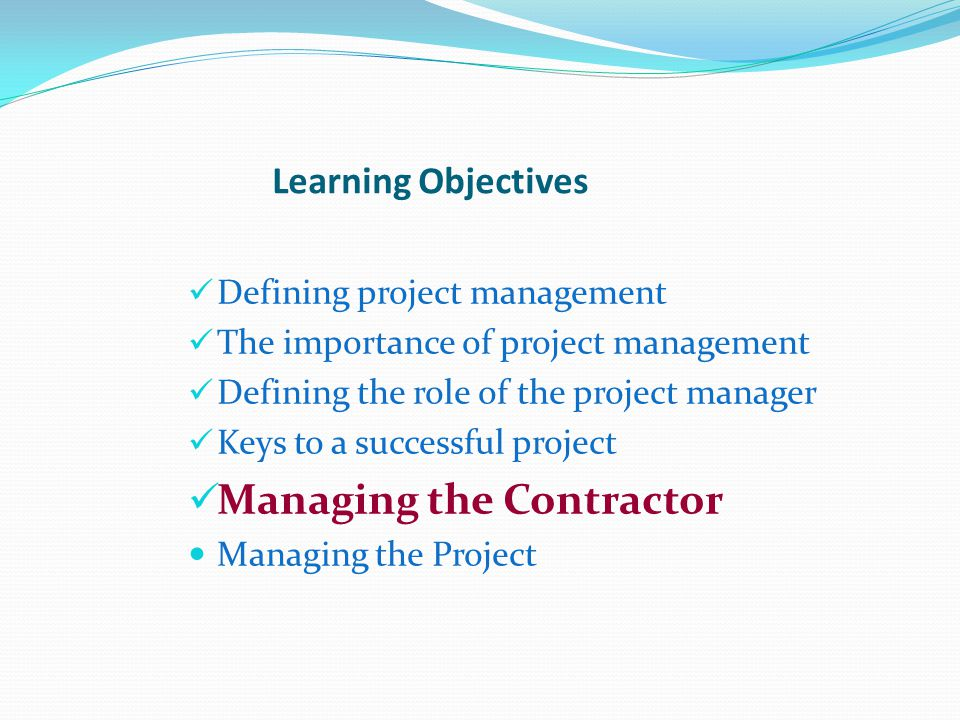 Managing the Contractor