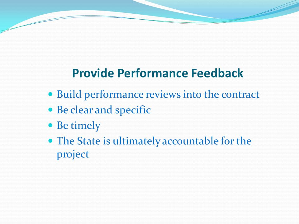 Provide Performance Feedback
